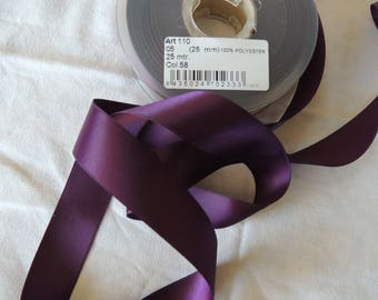 Satin ribbon plum/Eggplant color 25 mm wide