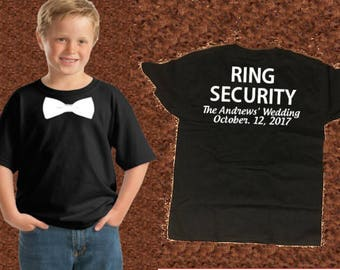 Ring Security Shirt with Wedding Name and Date on Backside Personalized T-Shirt | Ring Security Shirt | Ring Bearer Shirt