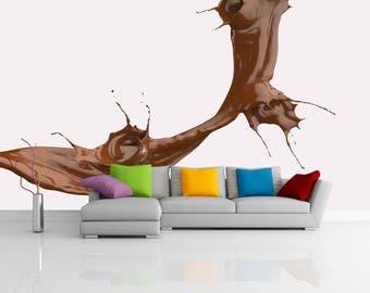 Removable Wallpaper Mural Peel & Stick 3D Splashing Chocolate