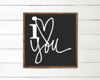 I love you haindpainted sign | Wood Sign | Farmhouse Decor | Bedroom Sign | Anniversary | Painted love sign | I heart you | Black and white