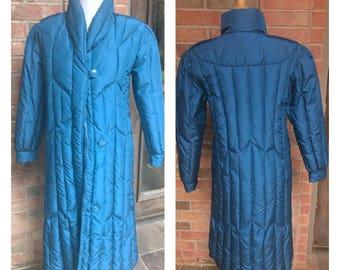 Windsor Bay - Down Coat - Long Coat - Blue Coat - Vintage