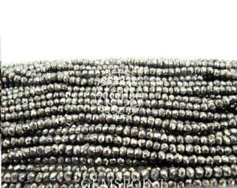 Natural Pyrite 4-5mm Faceted Roundels, 13.5 inch strand, Pyrite Rondelle Beads (R-PYR-0045)