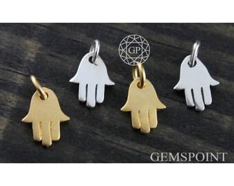 Sterling Silver or Vermeil Charm, Hamsa Hand Charm w/Jump Ring, Silver Hamsa Charm, Gold Hamsa Charm, Small Hamsa Hand Charm (2-33)