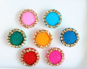 7 Polka Dot Colorful Round Bindis,Wedding Round Bindis,Multicolor Bindis,Colorful Face Jewels Bindis,Bollywood Bindis,Self Adhesive Stickers