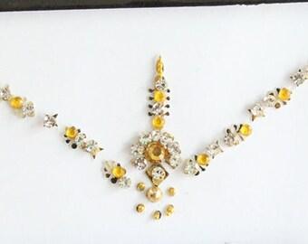 Forehead Gold Bindi Stickers,Wedding Long Bindis,Bridal Gold Bindis,India Bindi,Bollywood Bindi, Long Bindis, Self Adhesive Stickers