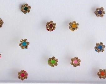 Tiny Round Bridal Colored Bindis ,Wedding Round Bindis,Velvet Colorful Bindis,Colorful Face  Bindis,Bollywood Bindis,Self Adhesive Stickers