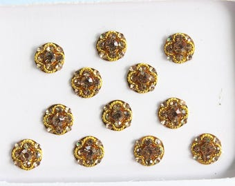 12 Gold Bridal Bindis ,Round Gold Bindis,Stone Bindis,Gold Face Jewels Bindis,India Bindis,Bollywood Bindis,Fake Belly Button Sticker