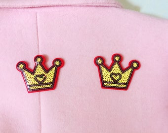 sequin crown iron on patch ,cool patch ,girl patch ,cute patch ,jacket patch .