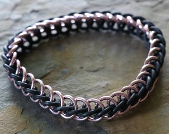 Pink and black chain maille bracelet