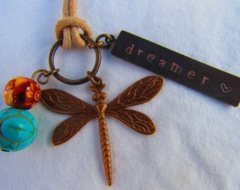Hand-stamped Necklace/Antique Brass/Dragonfly/Turquoise Beads/Leather Necklace/Dreamer/Metal Stamping/Handmade/Metal Stamped Necklace