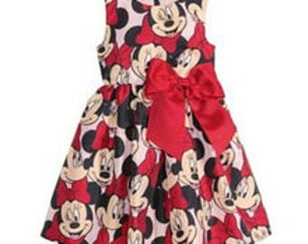Minnie mouse dress, disney dress, handmade dress with Large bow detail age 2 , 3, 4, 5, 6 years Limited available