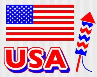 USA SVG Bundle and Clipart, 4th of July SVG cutting file templates- Independence day cut files- 4th of July die cut template