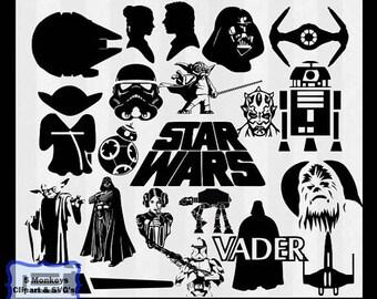 Star Wars SVG, Star wars Clip Art, Starwars SVG files for Silhouette Cameo or Cricut, star wars logo, starwars, vector, clipart, svg