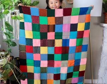 Patchwork Knitted Baby Afghan Blanket, Colorful Hand Made Throw, Color Block