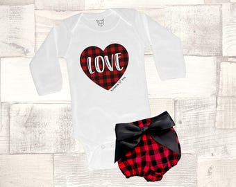 Baby Girl Valentine Outfit, Valentine Bodysuit, Love Plaid Bodysuit, Buffalo Plaid, Girls Shirt, Baby's Valentine Outfit, Mommy & Me, Cupid
