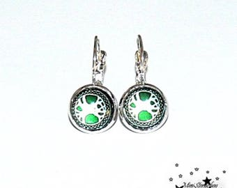 Cabochon earrings, with beautiful patterns