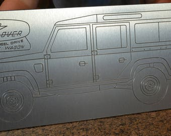 Land Rover brushed aluminum wall art