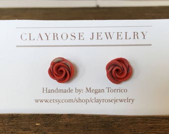 Red and Blue rose studs, rose bud earrings, rose studs, clay roses, little earrings