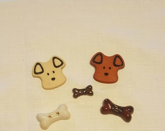 Dog face and Bone Buttons