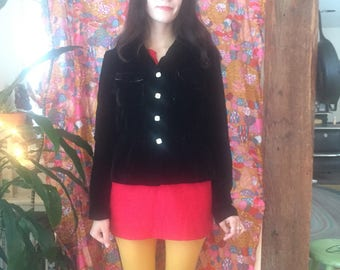 70s Black Crushed Velvet Pearly Button Front Disco Jacket Size Small