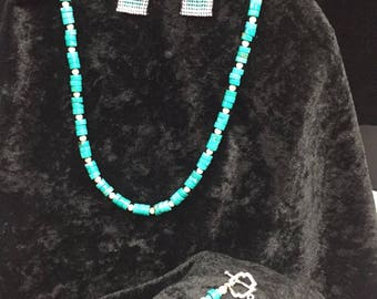 Turquoise Necklace with matching bracelet and earrings