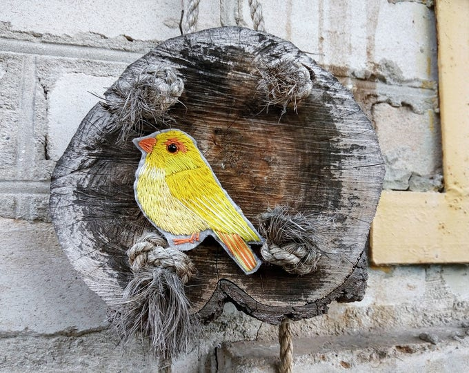 Yellow Bird brooch Canary embroidered jewelry for woman Pin Bird lover Gift girlfriend idea Brooch Embroidered pin Bird brooch mom gift bird