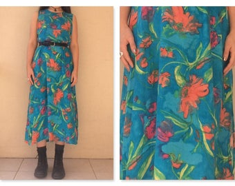 Boho Grunge 90s Vintage Rayon 'Watercolour' Maxi Dress / boho maxi dress / 90s maxi dress
