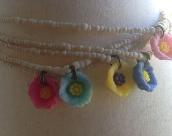 Simple summer flower charm necklace/choker