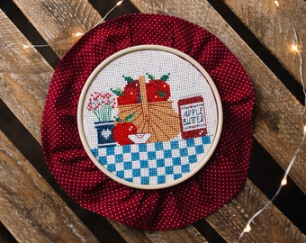 Apples - сompleted cross stitch hand embroidery