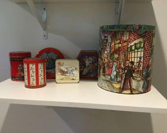 Assorted vintage Christmas tins