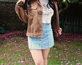 Light Chocolate Denim Jean Jacket Vintage Chic