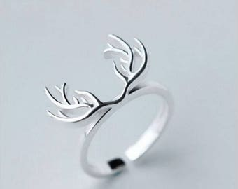 deer antler ring silver