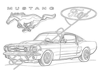 1969 FORD MUSTANG Adult Coloring Page Printable For Adults