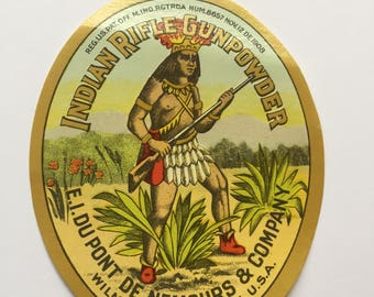 indian Rifle Gunpowder Label