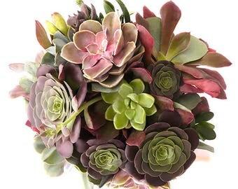 Le Bouquet de la Mariée Aurore : bouquet de succulentes roses et rouge, parure de mariage, bouquet végétal, plantes grasses