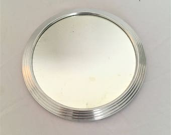 french plateau round mirror and metal 30s vintage