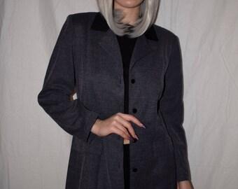 Vintage 90s Gray and Black Suit Jacket Blazer Size S