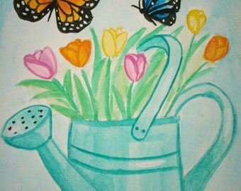 Original 4X6 watercolor painting of tulips in a watering can and butterflies