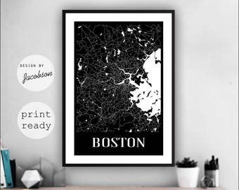 Boston Wall Art boston map art | etsy