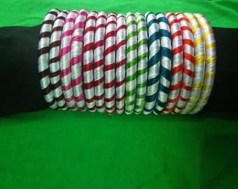 Handmade silk thread bangles(8 pairs)
