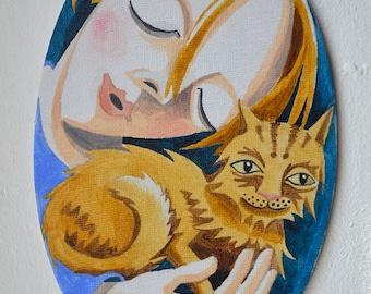 Sleeping child with cat, cat, oval, original, cat art, childrens room