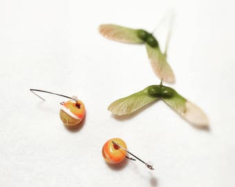 Sweet Apricot bubble infused Italian Moretti Earrings, Unique Gift, Birthday, Christmas