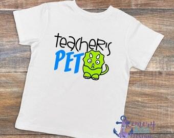 Teachers Pet Shirt, Teachers Pet Dinosaur Shirt, Dinosaur Back To School Shirt, Dinosaur Shirt, Boys Back To School Shirt, Dinosaur School