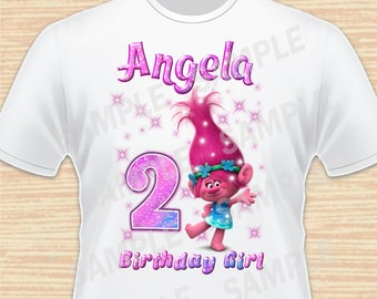 Any Name and Age for Design Birthday Girl. Trolls Digital File. Personalized Family Shirts, Birthday Party. Iron on Transfer. Printable 2.