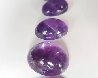 8 Oval Amethysts - assorted sizes from 18mm x 14mm to 10mm x 8mm - jewellery making / crafts