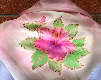 Silk headscarf with hibiscus flower