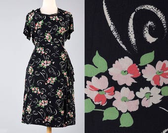 40s Dress Black 1940s Rayon Dress Floral Dress Short Sleeve Summer Dress Vintage 40s Dress Rockabilly Pinup Rayon Dress Plus Size XXL 2XL