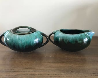 Blue Mountain Pottery Set of Sugar Bowl and Creamer