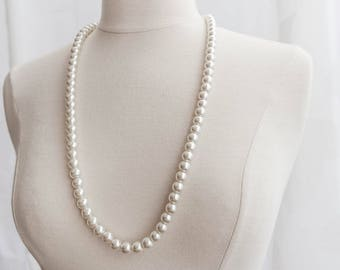 Classic Pearl Necklace, Vintage Pearl Necklace, Pearl Necklace, White Pearl Necklace, Freshwater Pearl Necklace, Retro Pearl Necklace