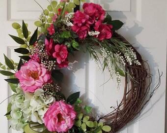Pink Summer Wreath, Summer Grapevine Wreath, Door Wreath, Pink Roses, Green Burlap Ribbon Pink, Front Door Decor, Summer Wreath Gift